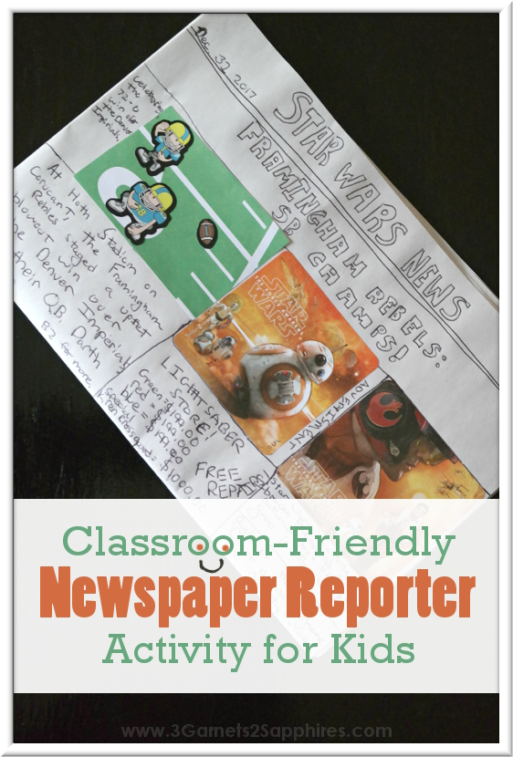 Classroom-Friendly DIY Newspaper Reporter Activity for Kids  |  3 Garnets & 2 Sapphires