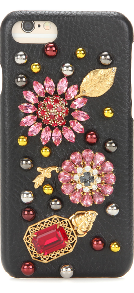DOLCE & GABBANA Embellished leather iPhone 7 case