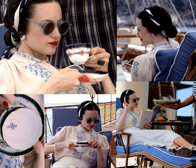 Fabulous Film Fashions W.E.  - Wallis - Blue & White Peasant Blouse & White Skirt