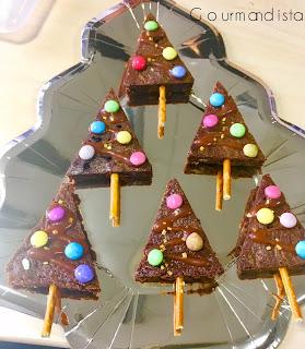 image Petits brownies sapins pour une déco gourmande  (version sans gluten possible)