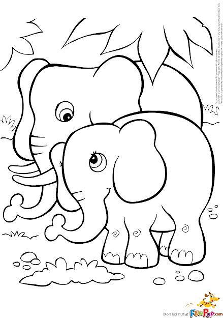 Coloring Games Elephant  Two Cute Elephants Coloring Page