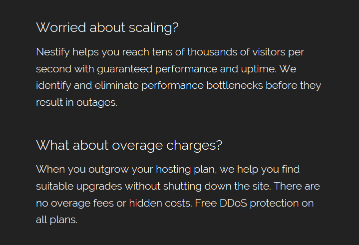 Nestify Hosting No Overage charges