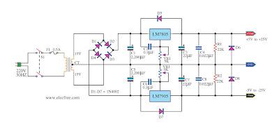 Various diagram: LM7905 LM7805 Dual Variable Regulator power