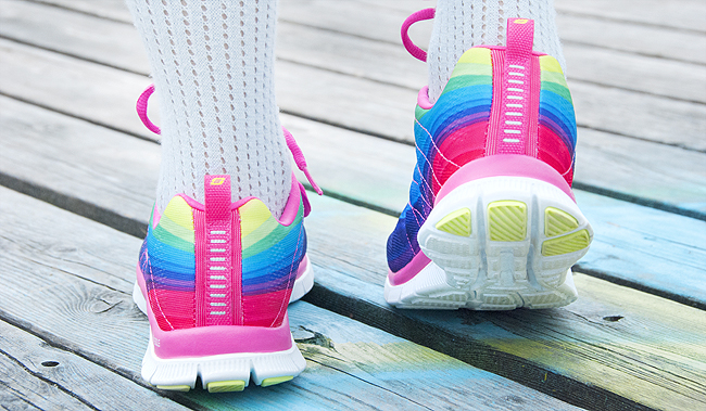 Skechers, rainbow sneakers, Voegele Shoes