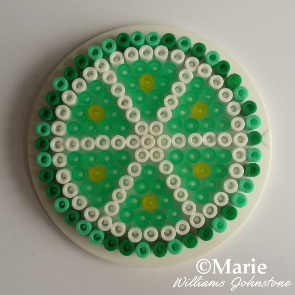 Lime perler beads pattern whole fruit slice coaster design green beads