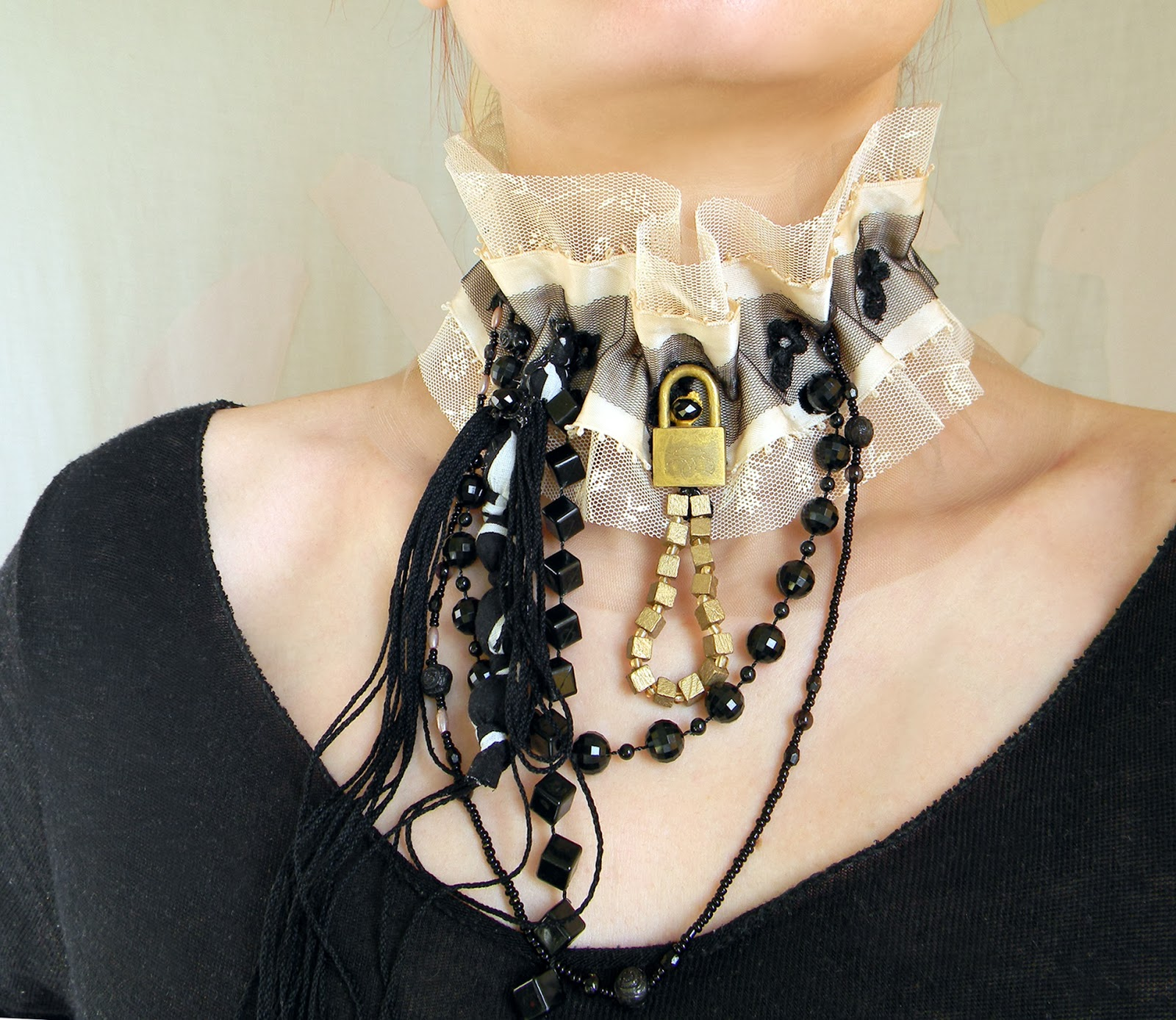 Unique Handmade Victorian Steampunk Choker Textile Black and Ivory Neck Piece