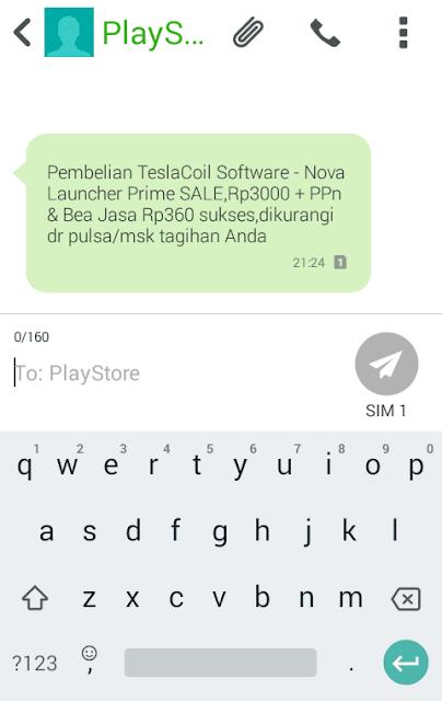 sms konfirmasi tentang detil pembelian aplikasi