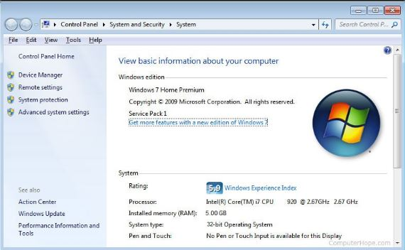 Use of Windows 7 Control Panel