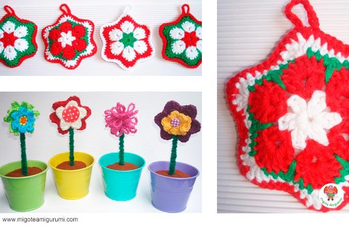 flores y adornos navideños tejidos en ganchillo - migoteamigurumi.com