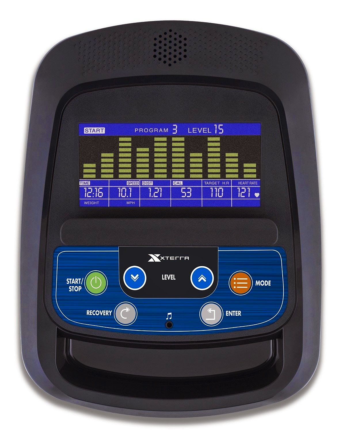 Xterra Xterra FS3.5 blue and yellow backlit LCD console display, shows workout stats including time, distance, speed, pulse, calories, sound system with speaker and audio jack for MP3 player, media shelf