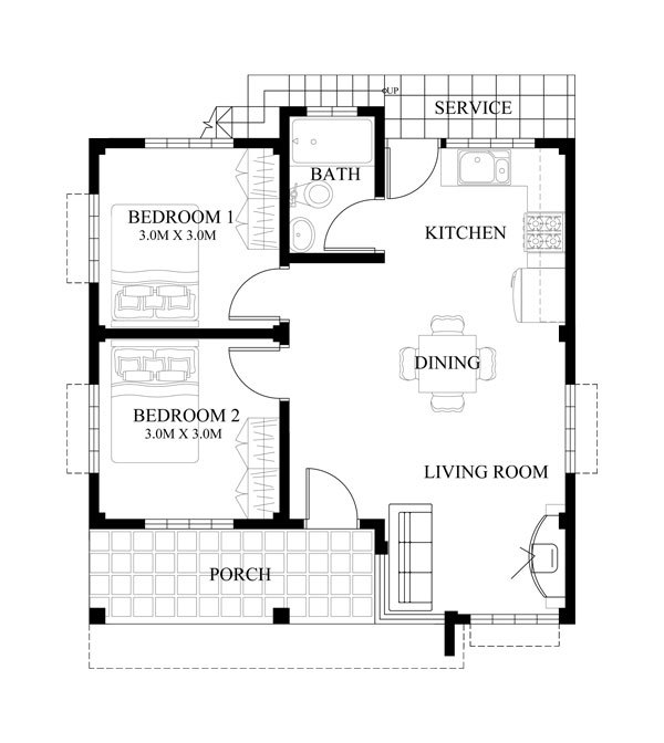 This Is A Small House Design With 60.0 Sqm Floor Area And Can Be Built In  135.0 Sqm Lot Area. Considered To A Typical House Plan For Average Filipino  ...