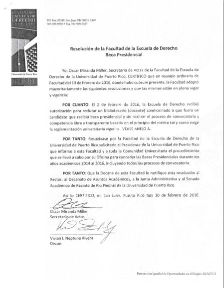 Poder derecho justicia resoluciones de la facultad de Convocatoria para las plazas docentes 2016