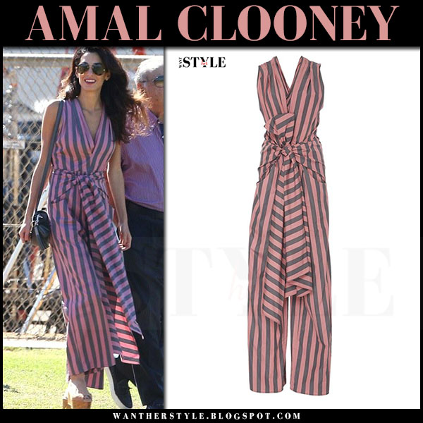 Amal Clooney in pink striped jumpsuit tome what she wore