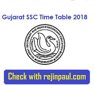 Gujarat  SSC Time Table 2018