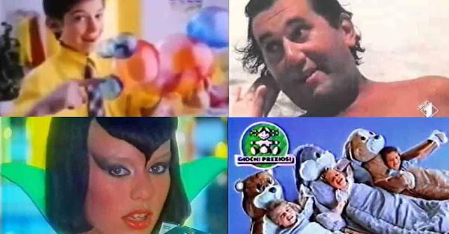 Collage di immagini provenienti da quattro diversi spot anni '80 e '90