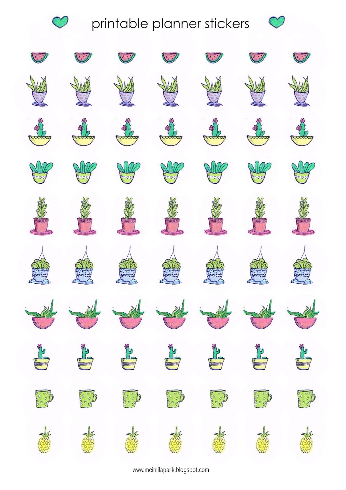 Free Printable Cactus Planner Stickers Agendasticker Freebie