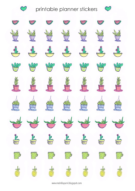 Free printable cactus planner stickers - Agendasticker - freebie