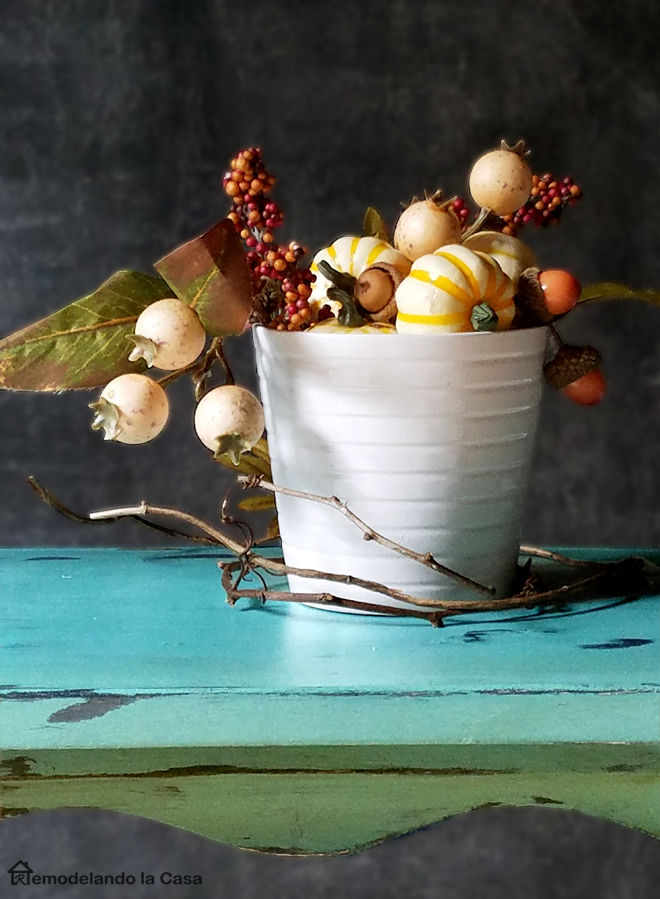 florence and duck egg blue step stool, Fall pumpkins and leaves in white vase.