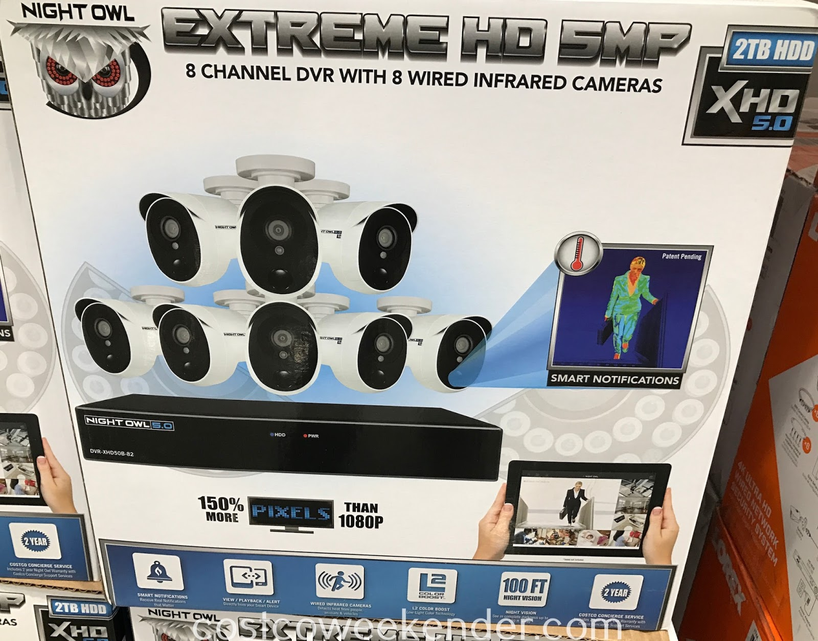 Keep your eye on your home with the Night Owl Extreme HD 5MP 8 Channel DVR with 8 Wired Infrared Cameras