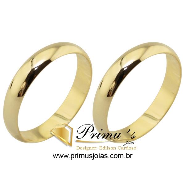 cd580cd13b5 ALPJ009 - Par de Alianças Abaulada em Ouro Amarelo 4mm 6