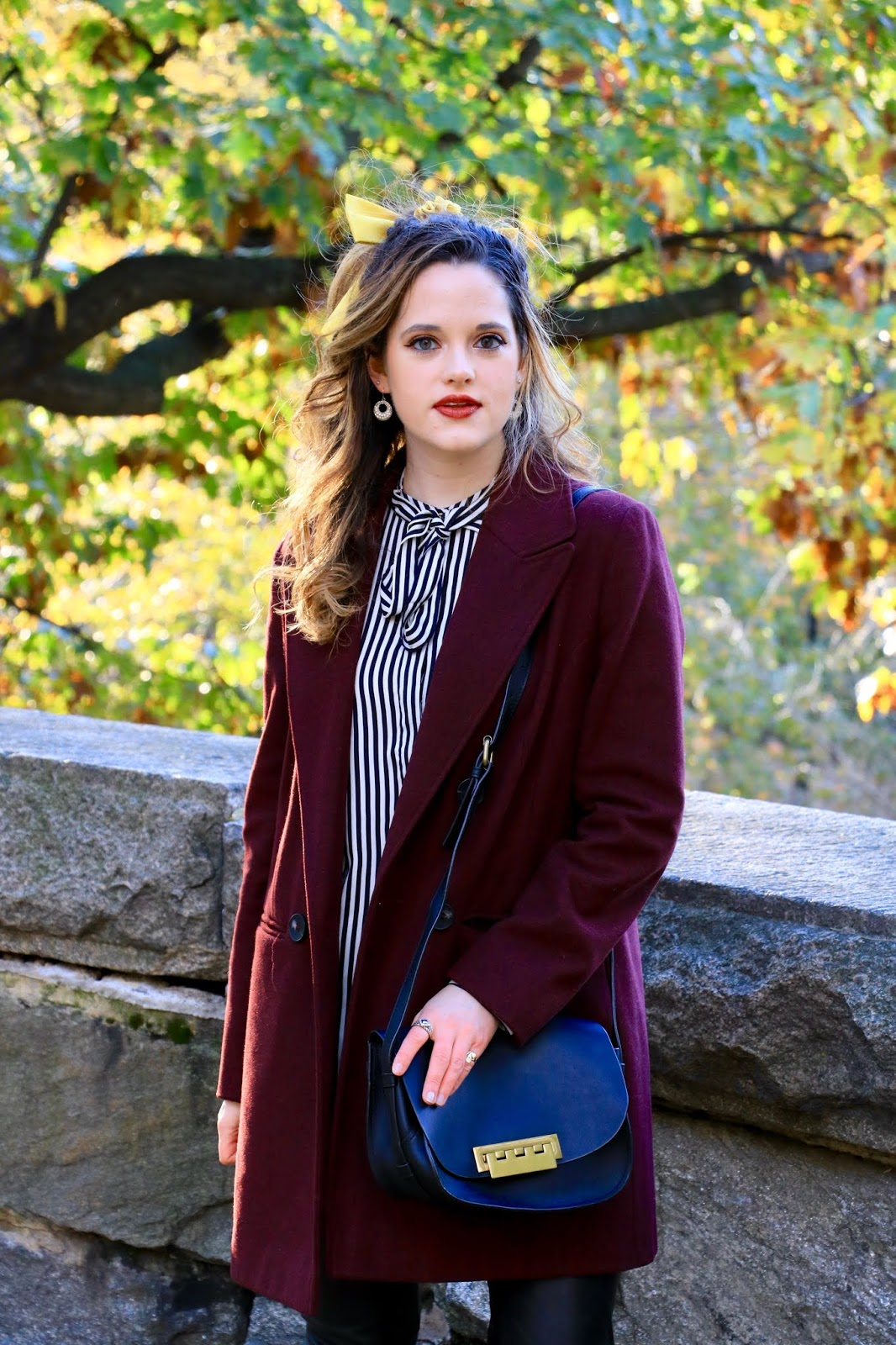 Nyc fashion blogger Kathleen Harper's bow tie blouse outfit ideas