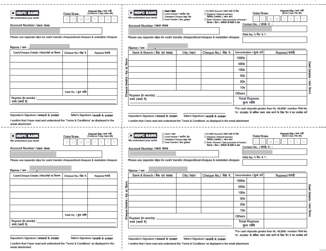 HDFC Cheque And Cash Deposit Slip  Payment Slips