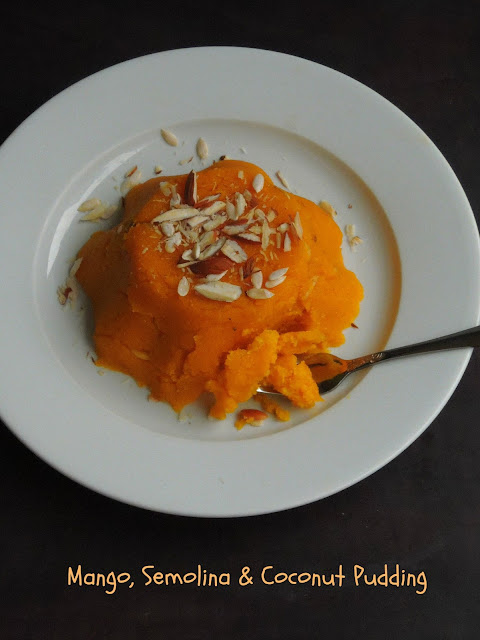 Mango sheera with coconut, Mango rava thenga kesari