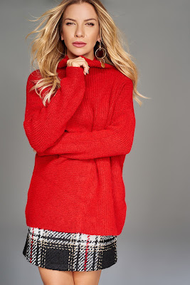balıkçı yaka kırmızı kazak modeli bayan