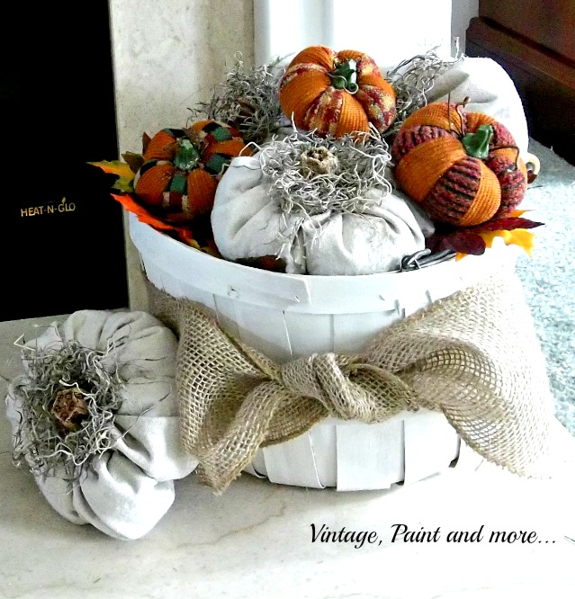 Vintage, Paint and more... pumpkins made from drop cloth fabric in rustic basked painted with diy chalk paint