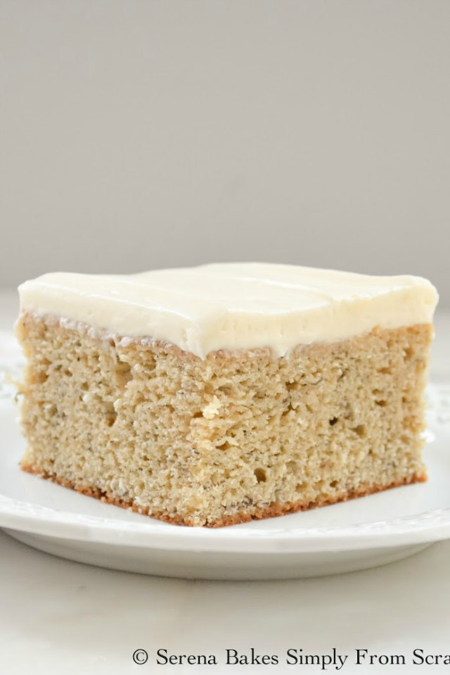 Light and Moist Banana Cake with Cream Cheese Frosting recipe from Serena Bakes Simply From Scratch.