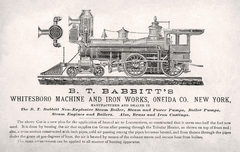 transpress nz: Babbitt's steam locomotive design, 1870s