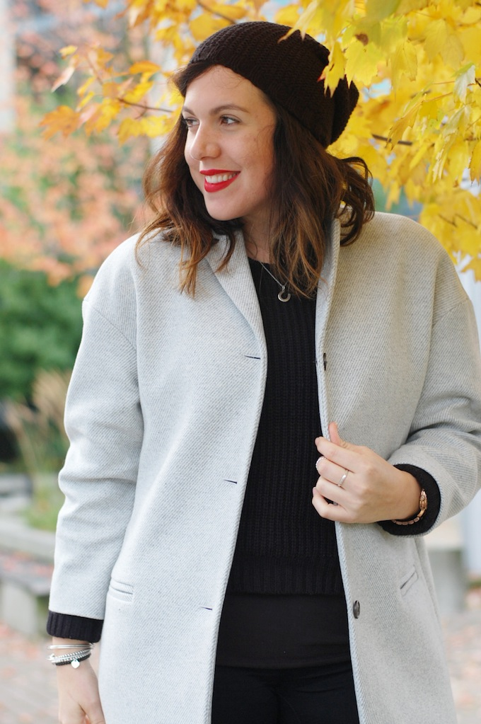 Gap dropped shoulder wool coat and Ardene toque