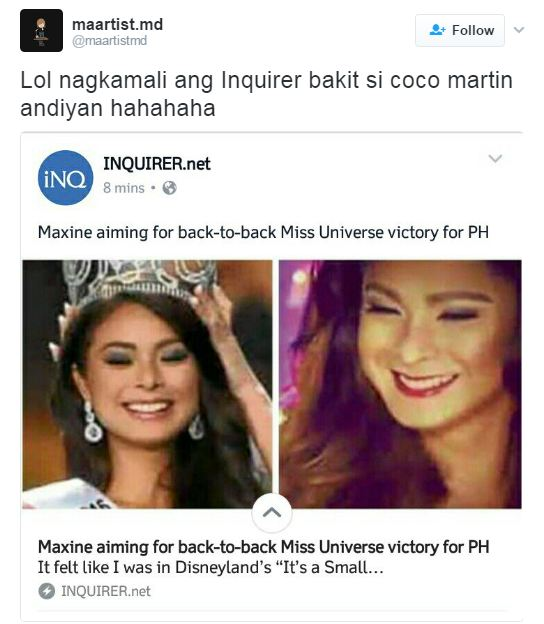 OOPS! Inquirer Confuses Miss Universe Bet Maxine Medina with Coco Martin