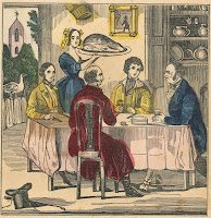 A colored illustration of a seated group being served a large roast.