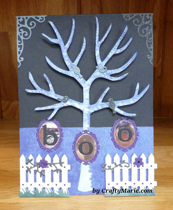 Halloween boo card embossed spooky tree design made with Hunkydory embossing folder from magazine issue 4 craft kit essentials
