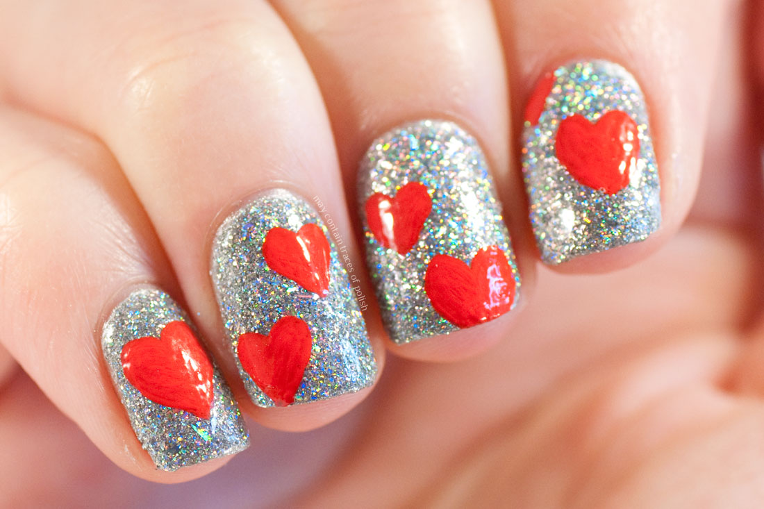 New Year\'s Eve Holo Heart Nails - May contain traces of polish