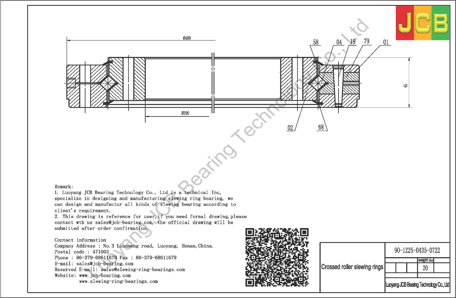 PSL slewing rings: Supply 9O-1Z25-0435-0722 of PSL slewing