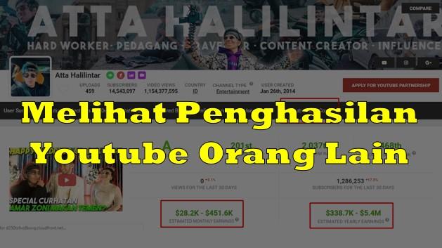 Melihat Penghasilan Youtube Orang Lain