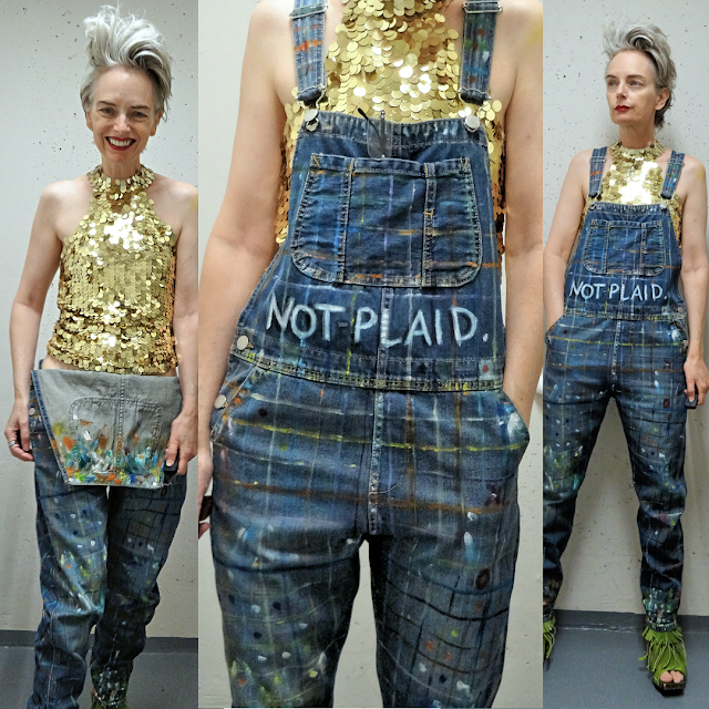Upcycled overalls, NOT PLAID, worn with sequins, by Mel Kobayashi