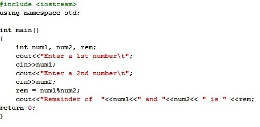 About Codes: c++ program to find remainder between 2 number