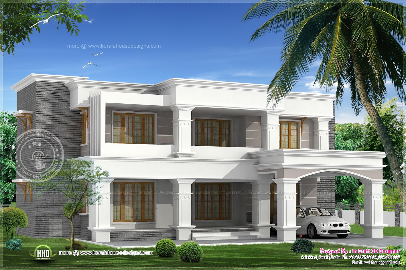 Two different elevations of a luxury 4 bed room villa for 4 bedroom house to build
