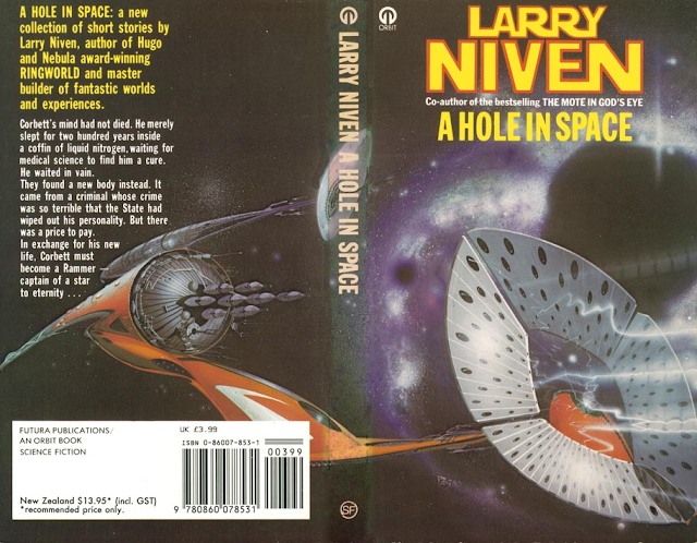 Portada de A Hole in Space, de Larry Niven (1974)