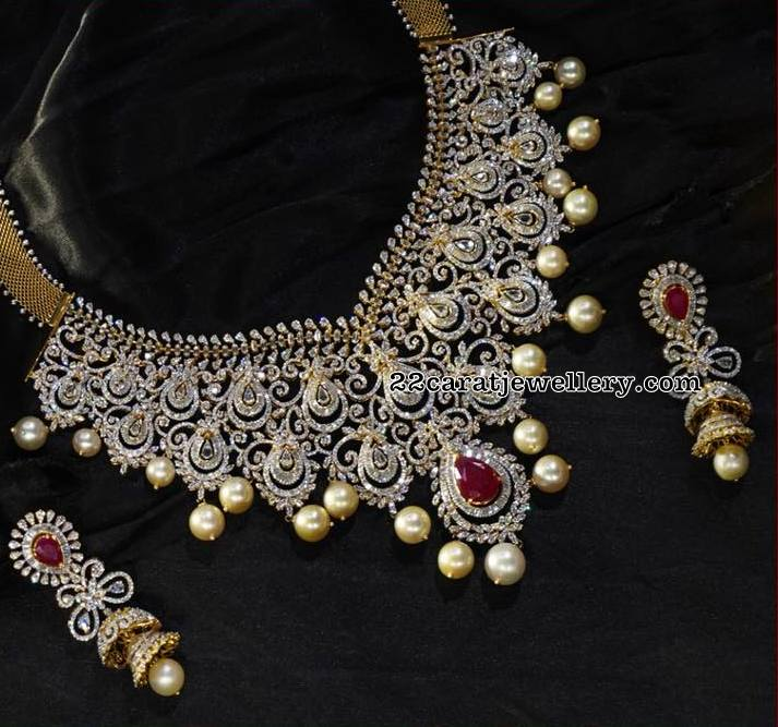 Heavy Two Step Diamond Necklace By Avr Jewellery Designs
