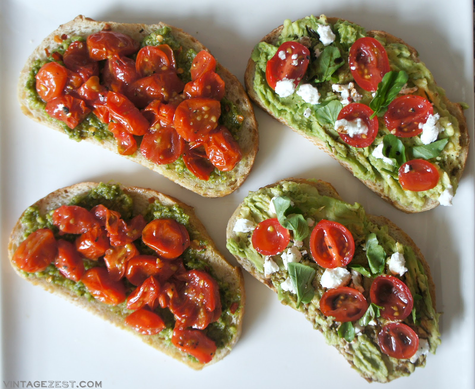 Roasted Tomato & Pesto Toast recipe on Diane's Vintage Zest!
