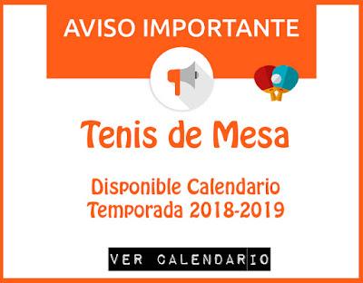 TENIS DE MESA: Disponible Calendario temporada 2018-2019