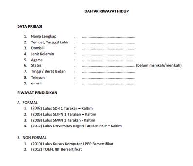 Contoh Surat CV atau Daftar Riwayat Hidup Terbaru ~ KondangCyber