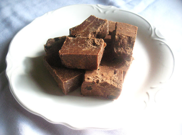 Vegan Chocolate-Coconut Butter Fudge with Dried Cherries