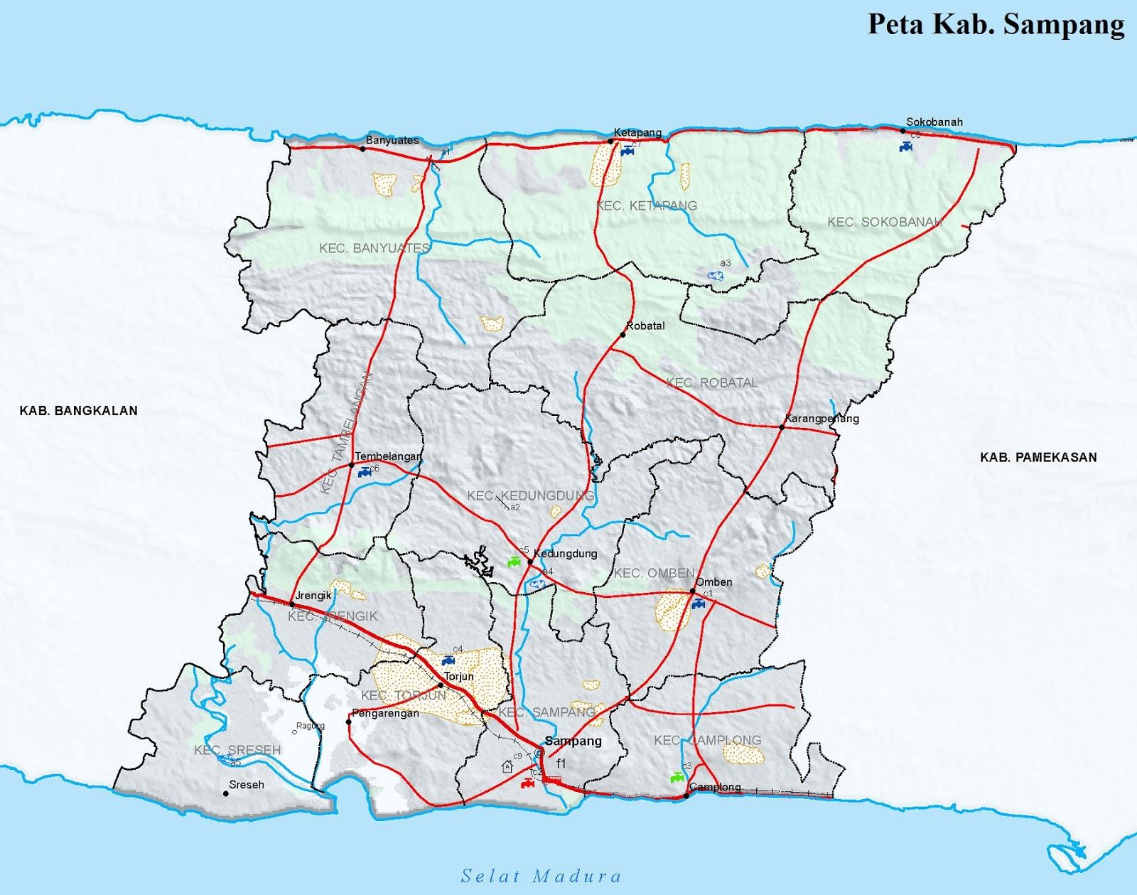 Gambar Peta Kabupaten Sampang HD