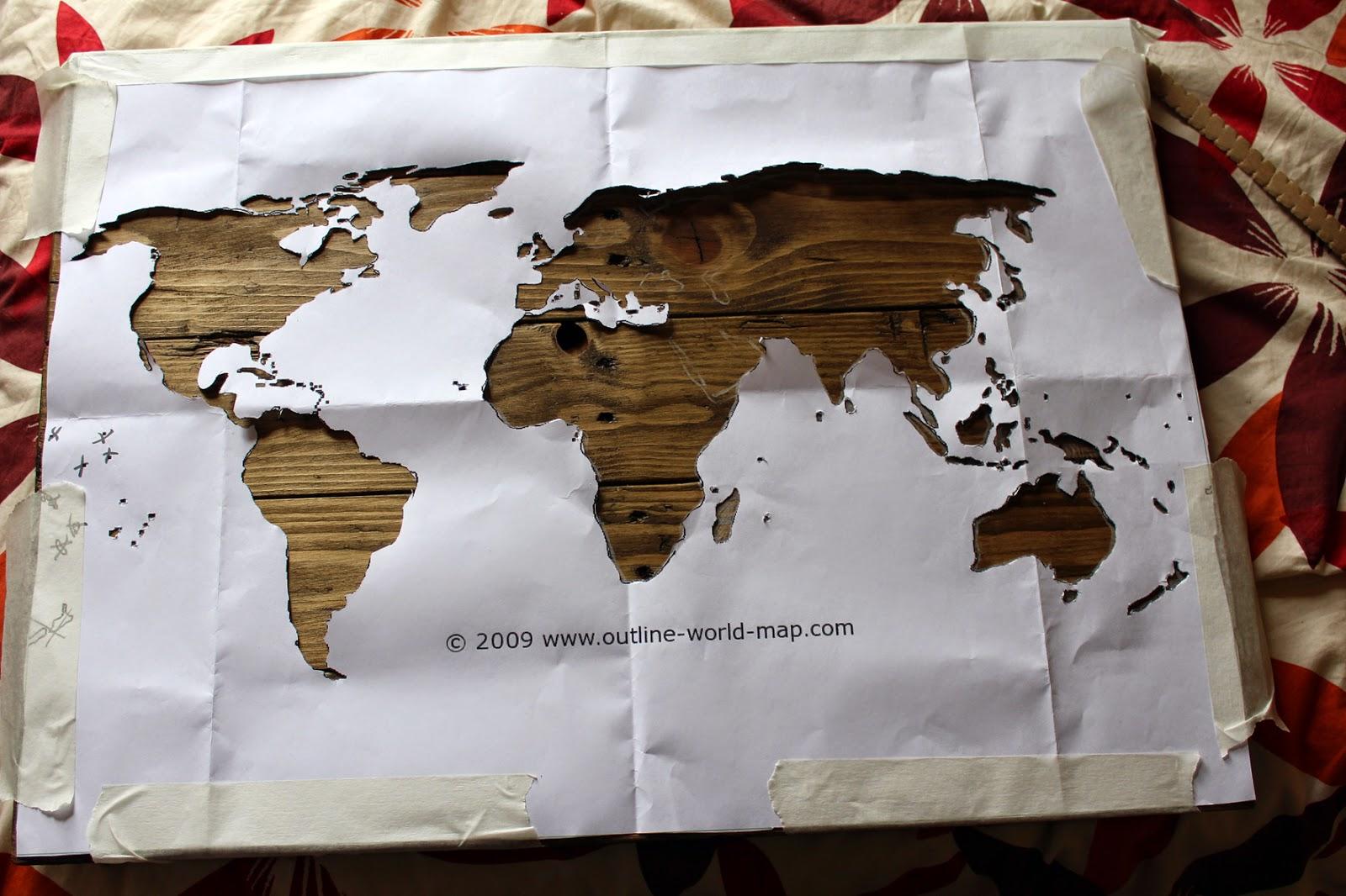 world map cut out stencil