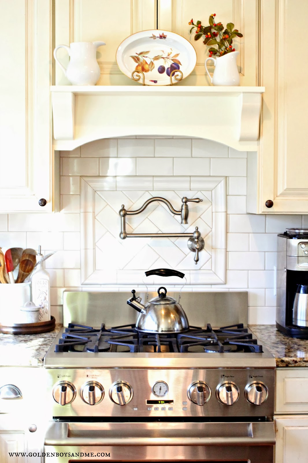 Our {Latest} Kitchen Makeover Reveal | Golden Boys and Me - Corner Range Hood Mantle Images